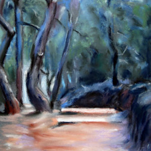 Waldweg in der Provence in Pastell