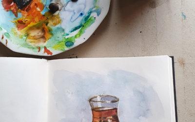 Skizze eines Teeglases